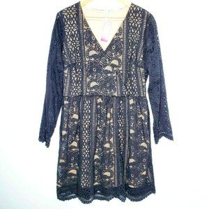 Xhilaration Lace V Neck Fit and Flare Dress XL NWT